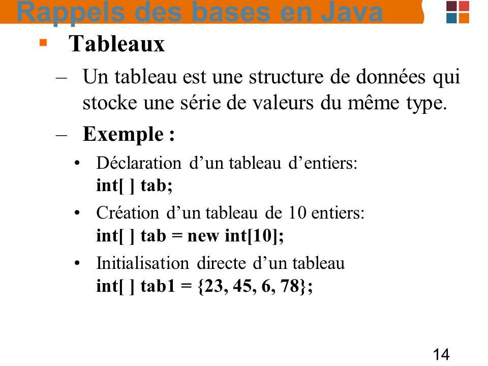 14 Tableaux –Un tableau est une structure de données qui stocke une série de valeurs du même type. –Exemple : Déclaration dun tableau dentiers: int[ ]