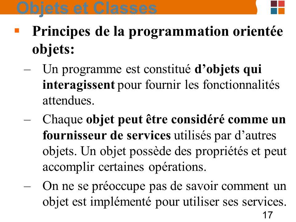17 Objets et Classes Principes de la programmation orientée objets: –Un programme est constitué dobjets qui interagissent pour fournir les fonctionnal