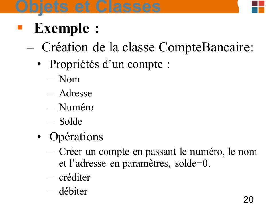 20 Exemple : –Création de la classe CompteBancaire: Propriétés dun compte : –Nom –Adresse –Numéro –Solde Opérations –Créer un compte en passant le num