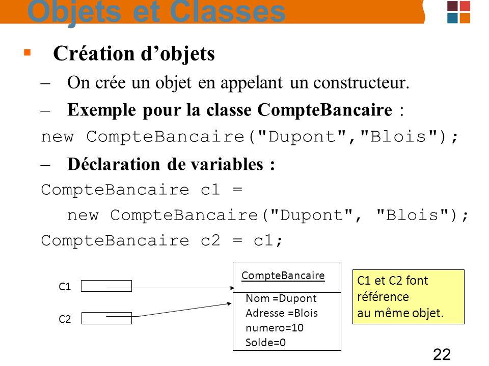 22 Création dobjets –On crée un objet en appelant un constructeur. –Exemple pour la classe CompteBancaire : new CompteBancaire(