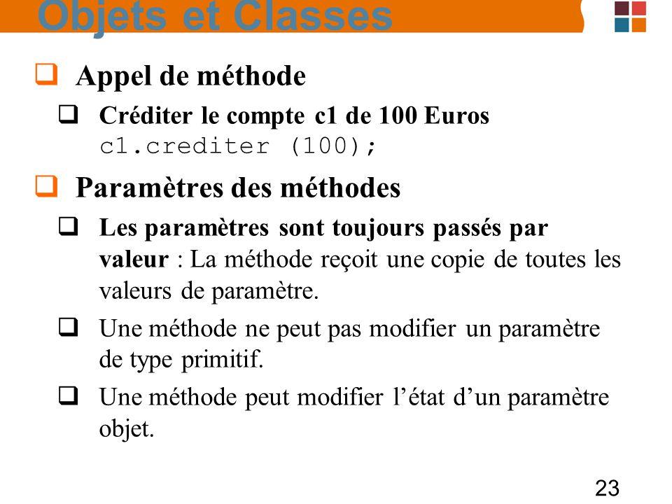 23 Appel de méthode Créditer le compte c1 de 100 Euros c1.crediter (100); Paramètres des méthodes Les paramètres sont toujours passés par valeur : La