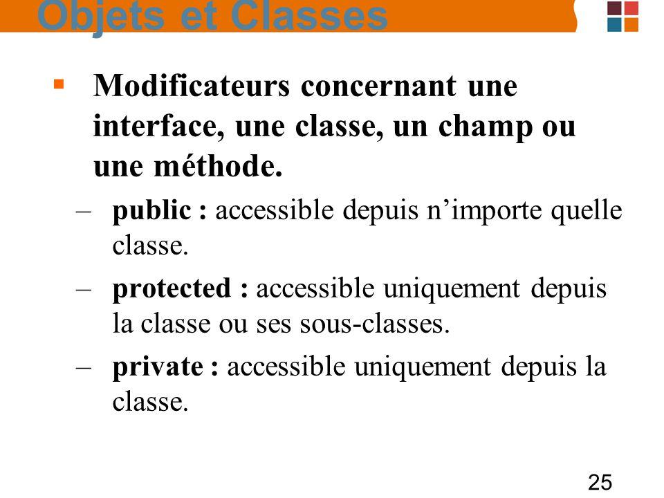 25 Modificateurs concernant une interface, une classe, un champ ou une méthode. –public : accessible depuis nimporte quelle classe. –protected : acces