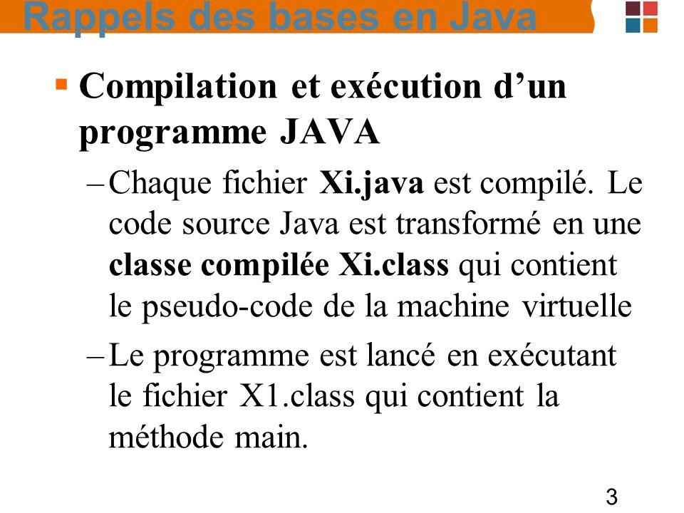 3 Compilation et exécution dun programme JAVA –Chaque fichier Xi.java est compilé. Le code source Java est transformé en une classe compilée Xi.class