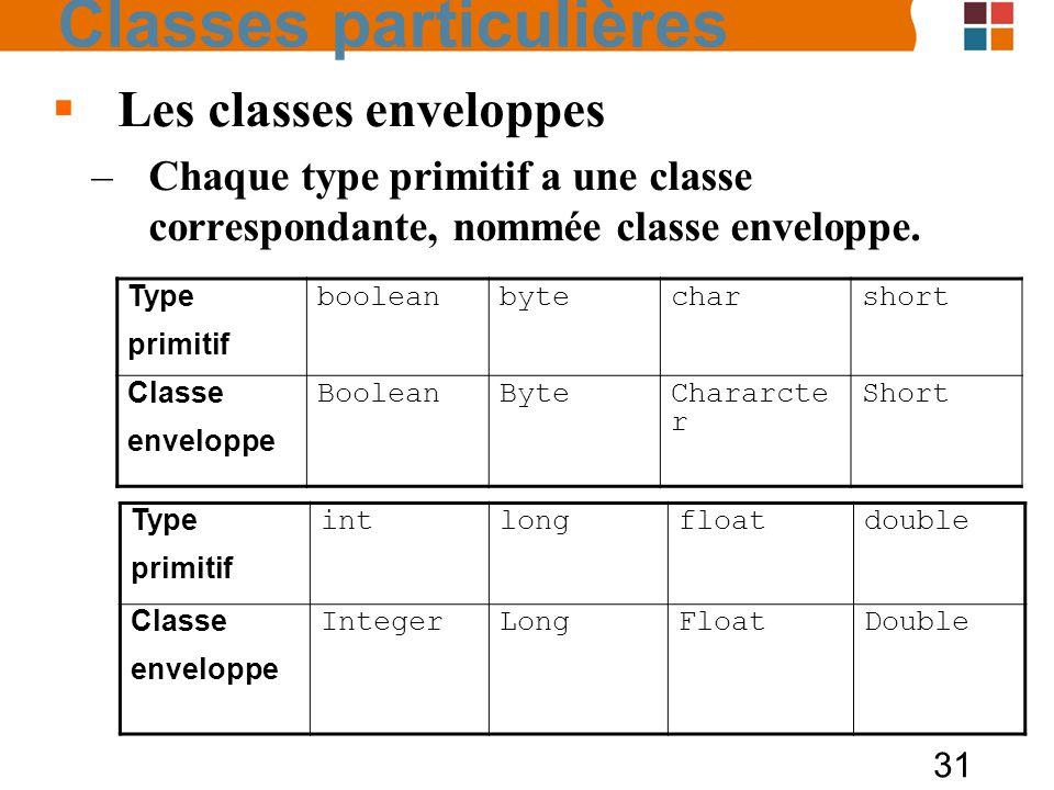 31 Les classes enveloppes –Chaque type primitif a une classe correspondante, nommée classe enveloppe. Type primitif intlongfloatdouble Classe envelopp