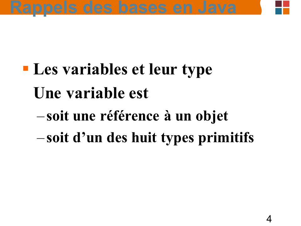 5 Les variables et leur type –Types de référence Tableau Classe Interface Valeurs dune telle variable : null contient ladresse dun objet instancié.