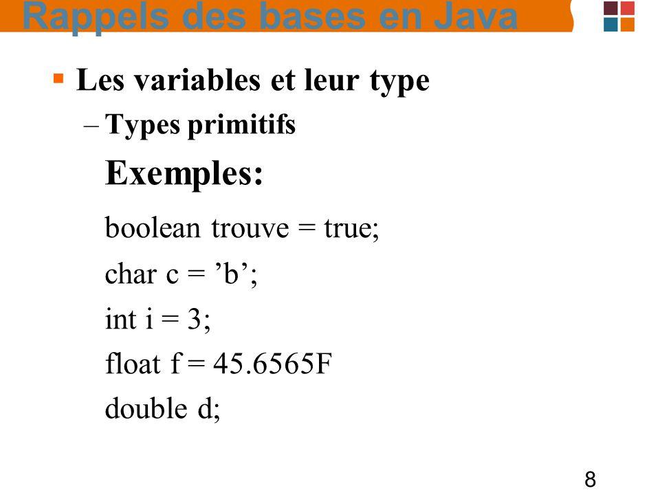 8 Les variables et leur type –Types primitifs Exemples: boolean trouve = true; char c = b; int i = 3; float f = 45.6565F double d; Rappels des bases e