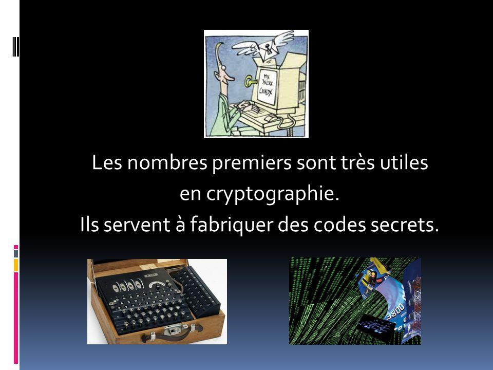 Les nombres premiers sont très utiles en cryptographie. Ils servent à fabriquer des codes secrets.