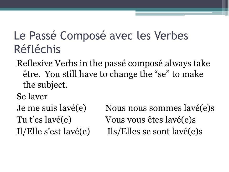 Le Passé Composé avec les Verbes Réfléchis Reflexive Verbs in the passé composé always take être.