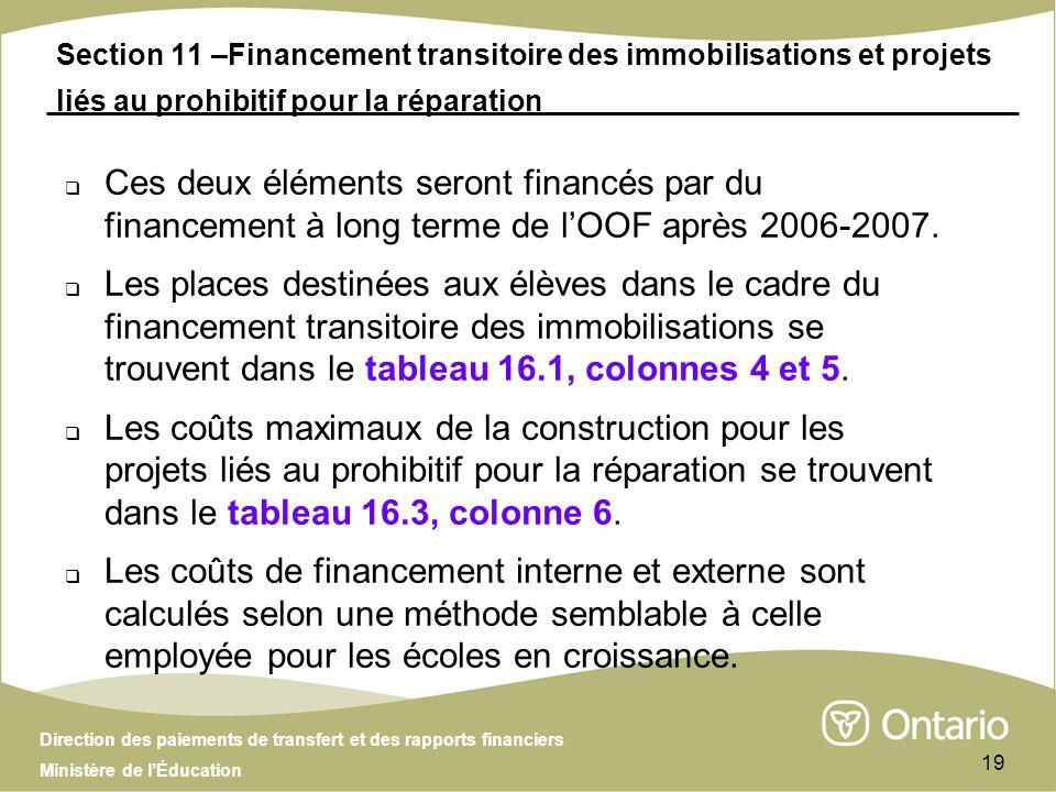 Direction des paiements de transfert et des rapports financiers Ministère de lÉducation 19 Section 11 –Financement transitoire des immobilisations et projets liés au prohibitif pour la réparation Ces deux éléments seront financés par du financement à long terme de lOOF après 2006-2007.