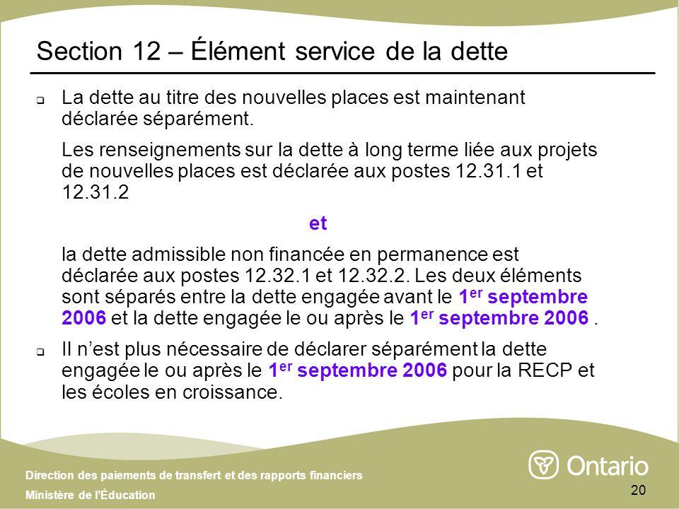 Direction des paiements de transfert et des rapports financiers Ministère de lÉducation 20 Section 12 – Élément service de la dette La dette au titre des nouvelles places est maintenant déclarée séparément.