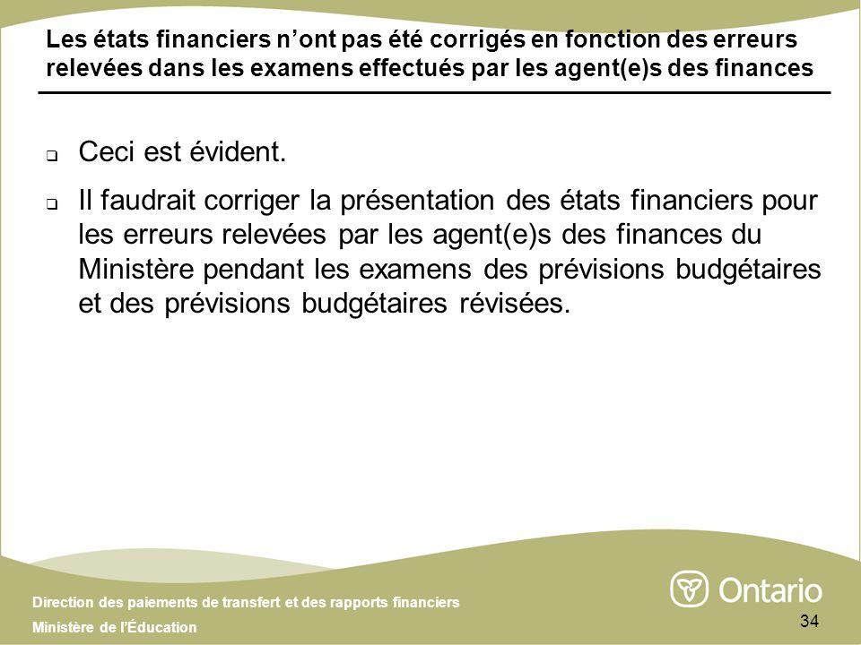 Direction des paiements de transfert et des rapports financiers Ministère de lÉducation 34 Les états financiers nont pas été corrigés en fonction des erreurs relevées dans les examens effectués par les agent(e)s des finances Ceci est évident.