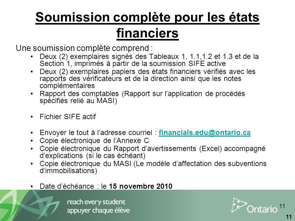 11 Soumission complète pour les états financiers Une soumission complète comprend : Deux (2) exemplaires signés des Tableaux 1, 1.1,1.2 et 1.3 et de la Section 1, imprimés à partir de la soumission SIFE active Deux (2) exemplaires papiers des états financiers vérifiés avec les rapports des vérificateurs et de la direction ainsi que les notes complémentaires Rapport des comptables (Rapport sur lapplication de procédés spécifiés relié au MASI) Fichier SIFE actif Envoyer le tout à ladresse courriel : financials.edu@ontario.cafinancials.edu@ontario.ca Copie électronique de lAnnexe C Copie électronique du Rapport davertissements (Excel) accompagné dexplications (si le cas échéant) Copie électronique du MASI (Le modèle daffectation des subventions dimmobilisations) Date déchéance : le 15 novembre 2010