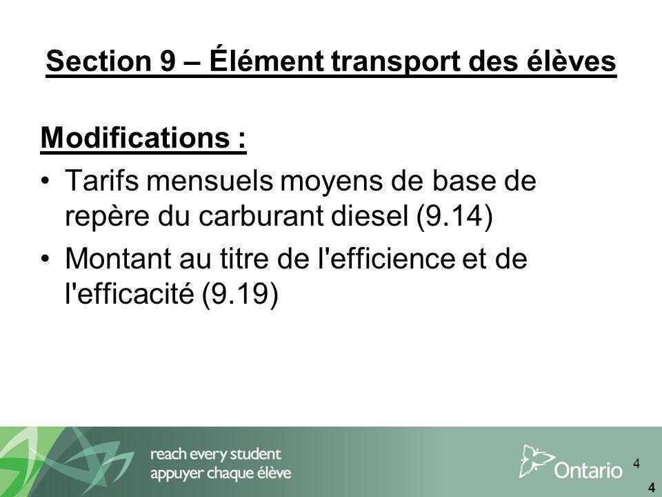 4 4 Section 9 – Élément transport des élèves Modifications : Tarifs mensuels moyens de base de repère du carburant diesel (9.14) Montant au titre de l efficience et de l efficacité (9.19)