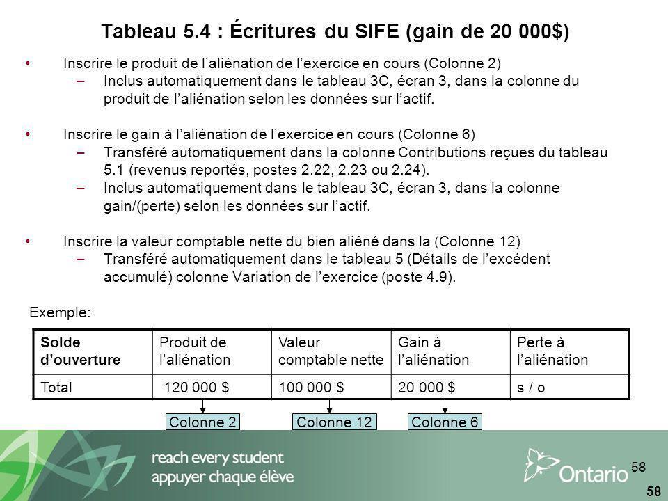 58 Tableau 5.4 : Écritures du SIFE (gain de 20 000$) Inscrire le produit de laliénation de lexercice en cours (Colonne 2) –Inclus automatiquement dans le tableau 3C, écran 3, dans la colonne du produit de laliénation selon les données sur lactif.