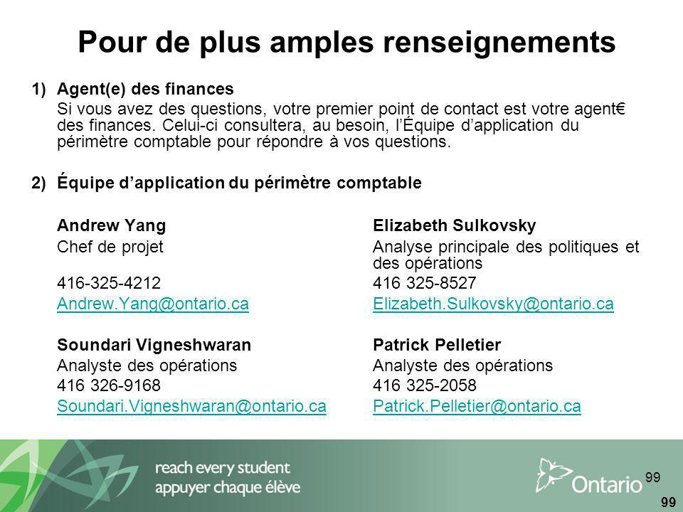 99 Pour de plus amples renseignements 1)Agent(e) des finances Si vous avez des questions, votre premier point de contact est votre agent des finances.