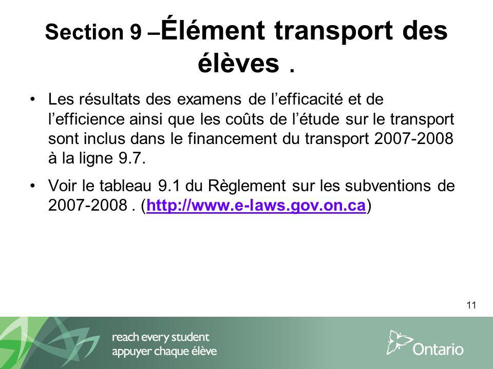 11 Section 9 – Élément transport des élèves.