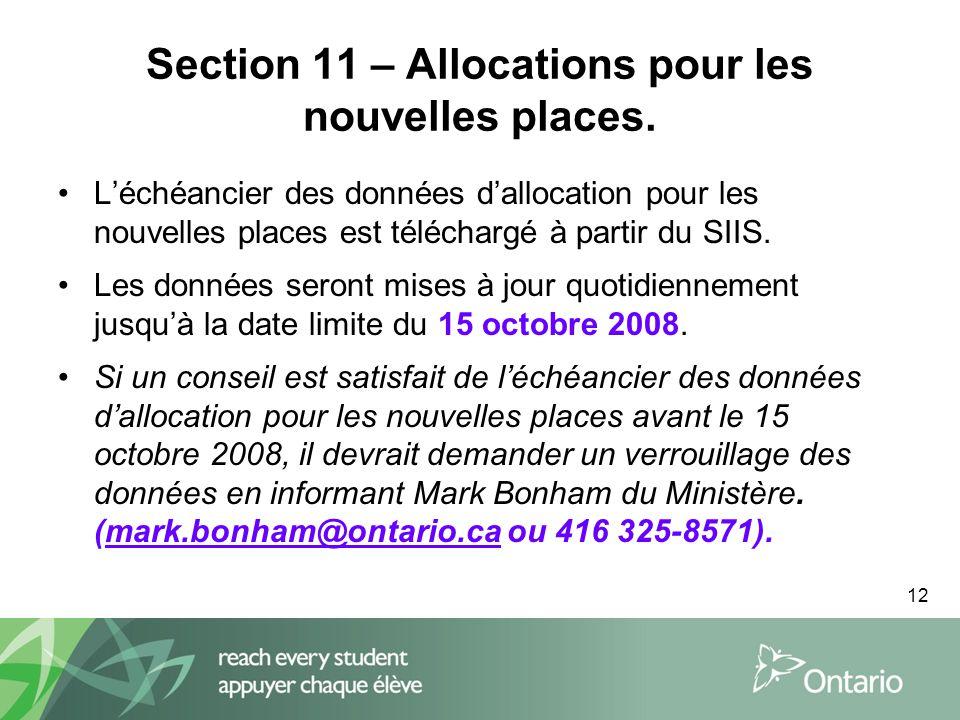 12 Section 11 – Allocations pour les nouvelles places.