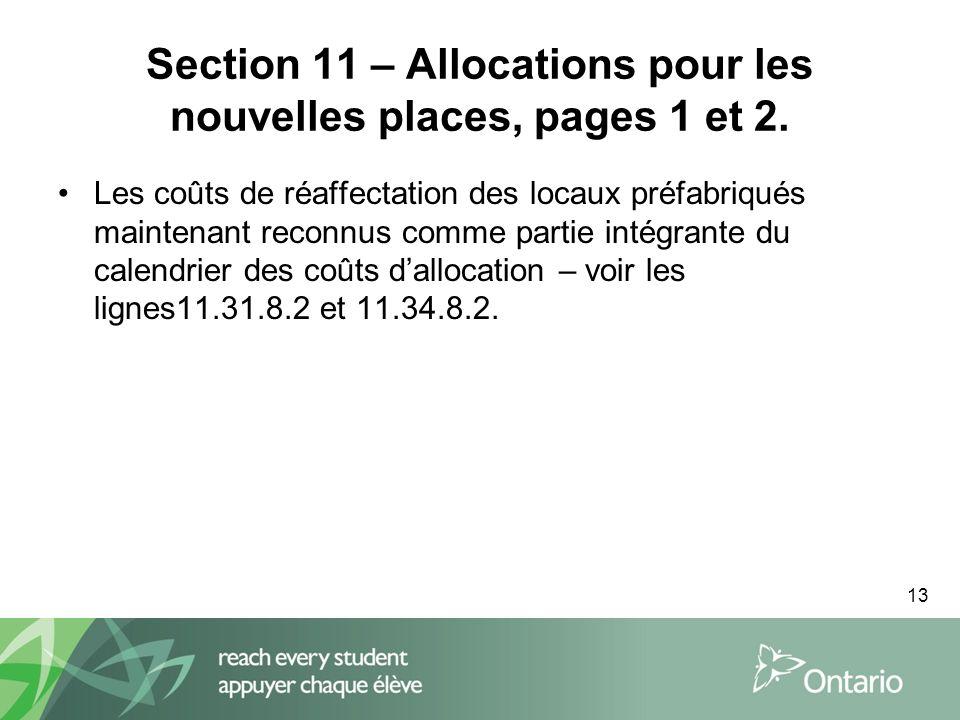 13 Section 11 – Allocations pour les nouvelles places, pages 1 et 2.