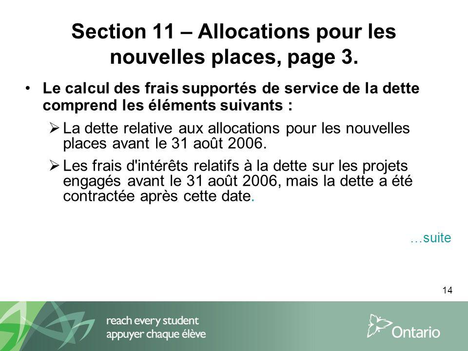 14 Section 11 – Allocations pour les nouvelles places, page 3.