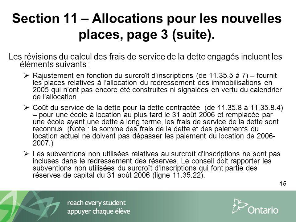 15 Section 11 – Allocations pour les nouvelles places, page 3 (suite).