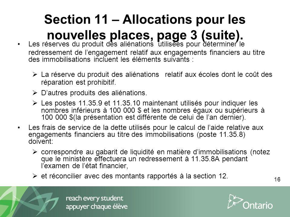 16 Section 11 – Allocations pour les nouvelles places, page 3 (suite).