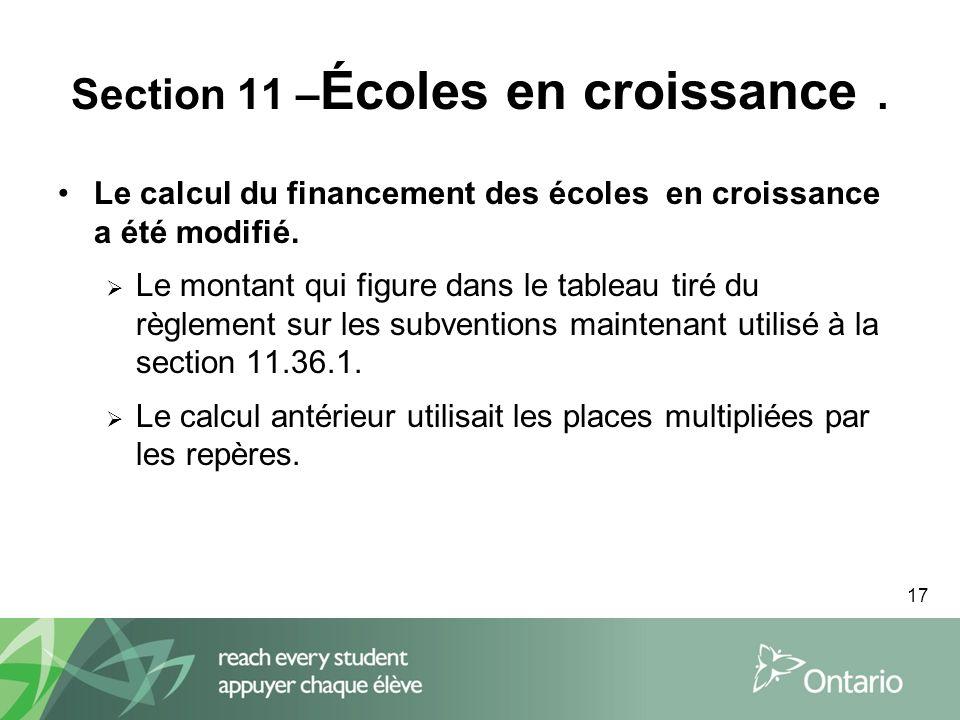 17 Section 11 – Écoles en croissance.