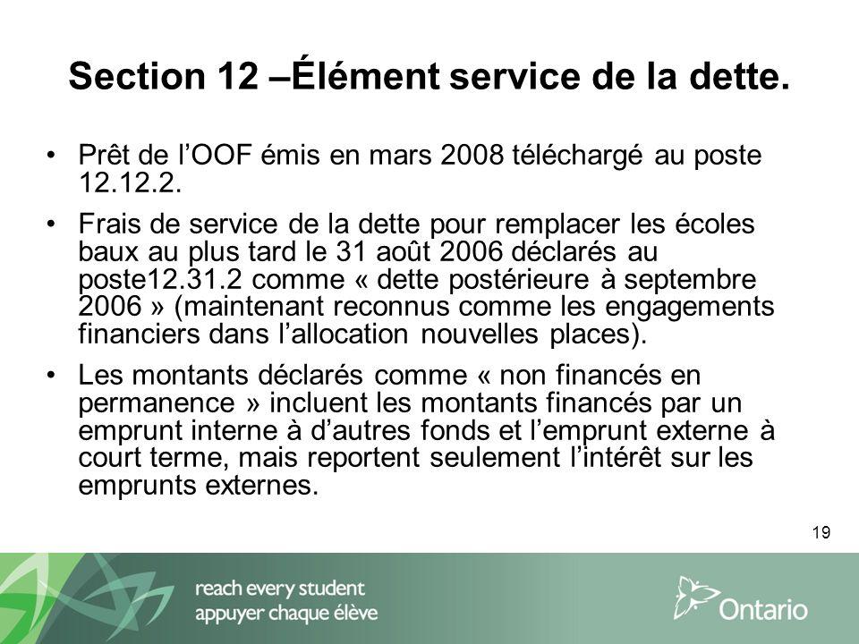 19 Section 12 –Élément service de la dette.