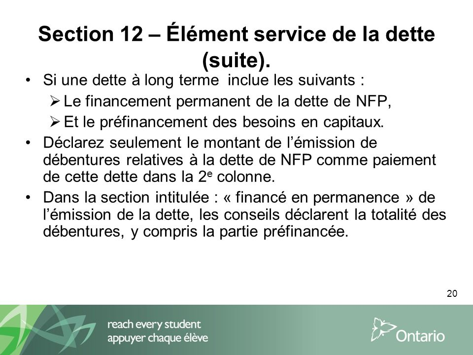 20 Section 12 – Élément service de la dette (suite).