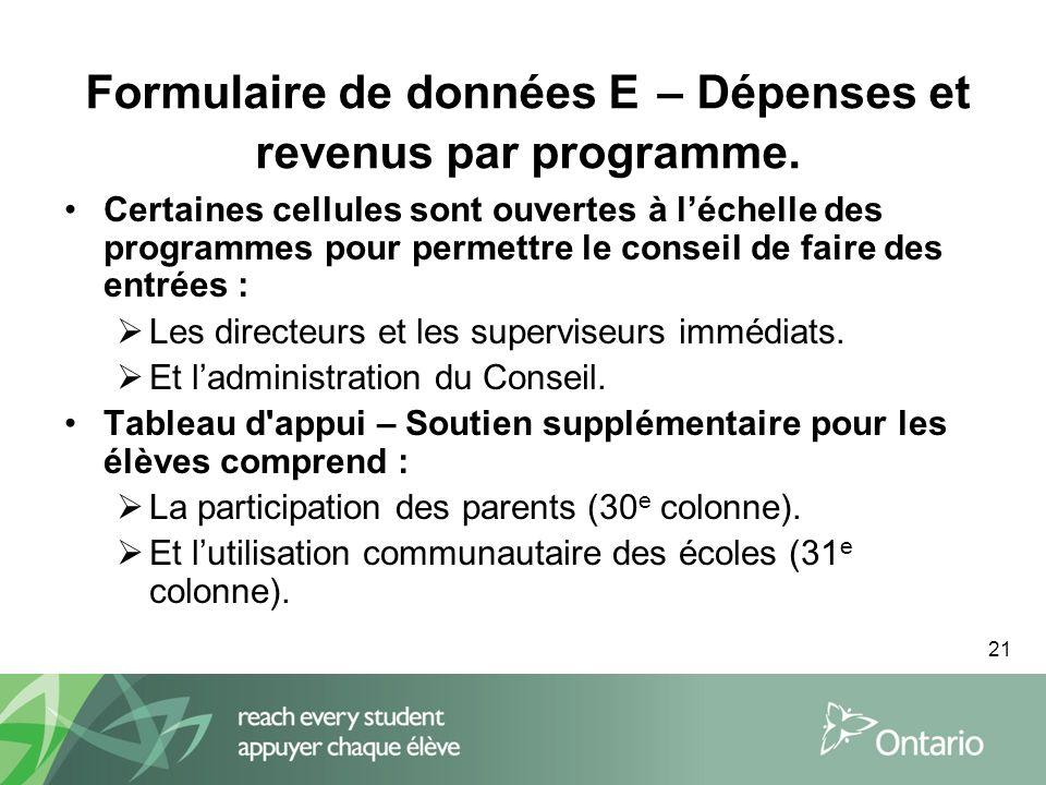 21 Formulaire de données E – Dépenses et revenus par programme.