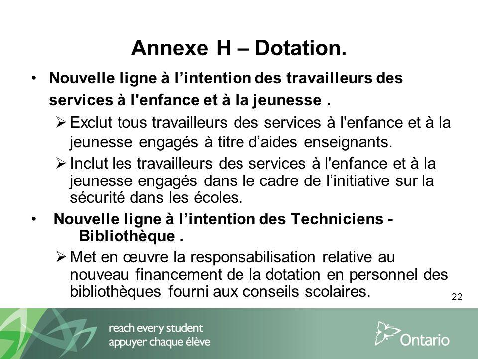 22 Annexe H – Dotation.