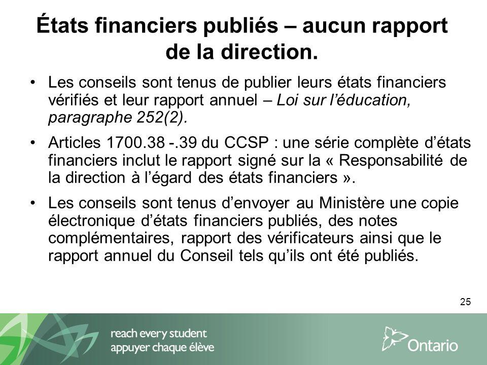 25 États financiers publiés – aucun rapport de la direction.