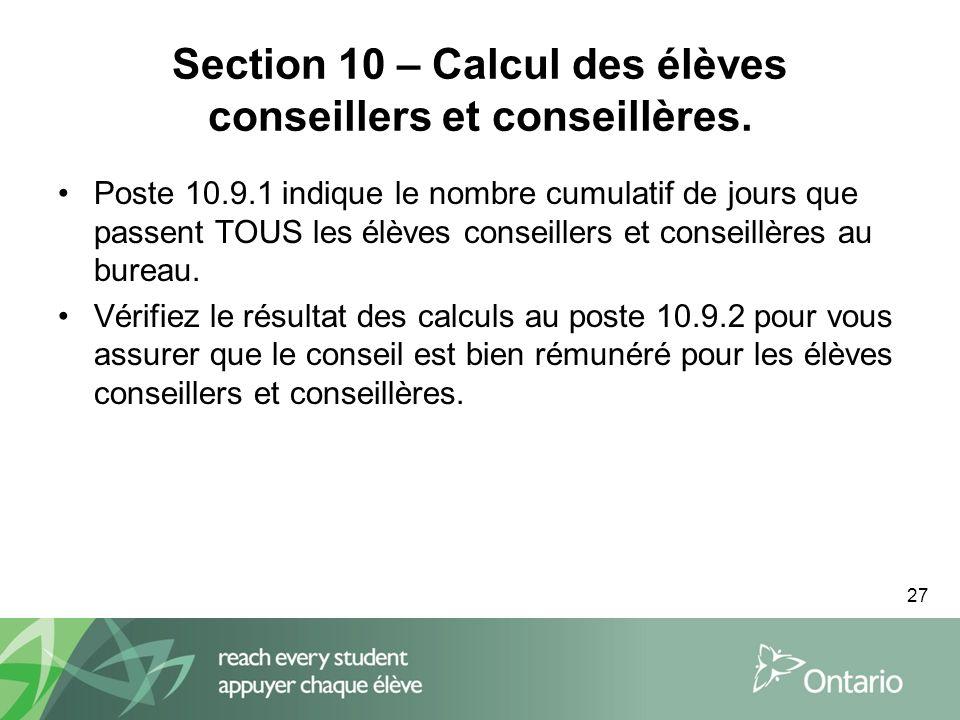 27 Section 10 – Calcul des élèves conseillers et conseillères.