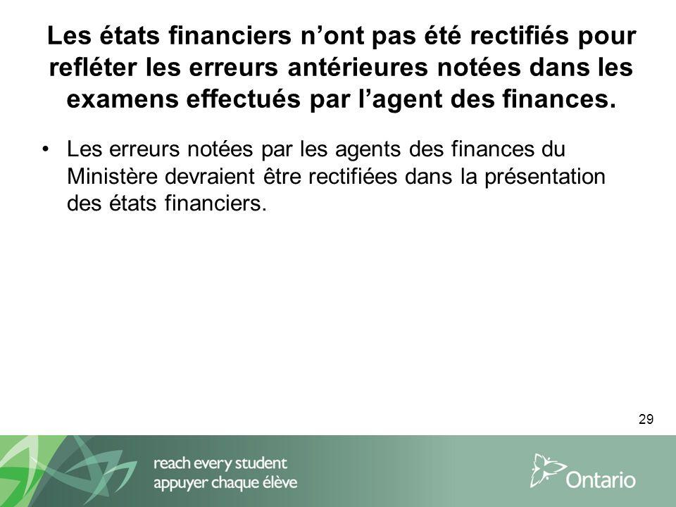 29 Les états financiers nont pas été rectifiés pour refléter les erreurs antérieures notées dans les examens effectués par lagent des finances.