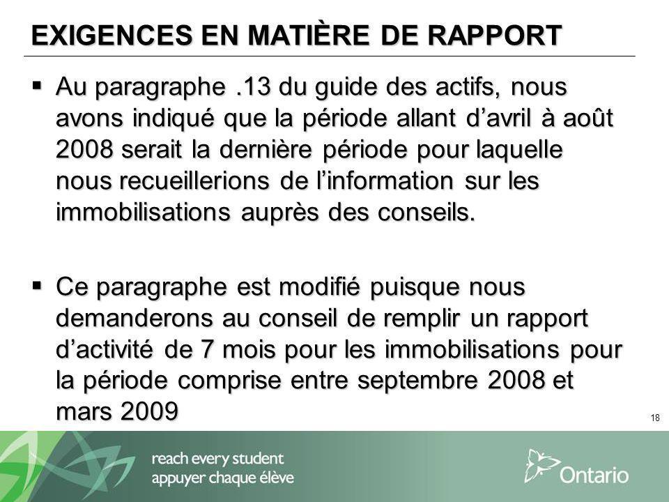 18 EXIGENCES EN MATIÈRE DE RAPPORT Au paragraphe.13 du guide des actifs, nous avons indiqué que la période allant davril à août 2008 serait la dernièr