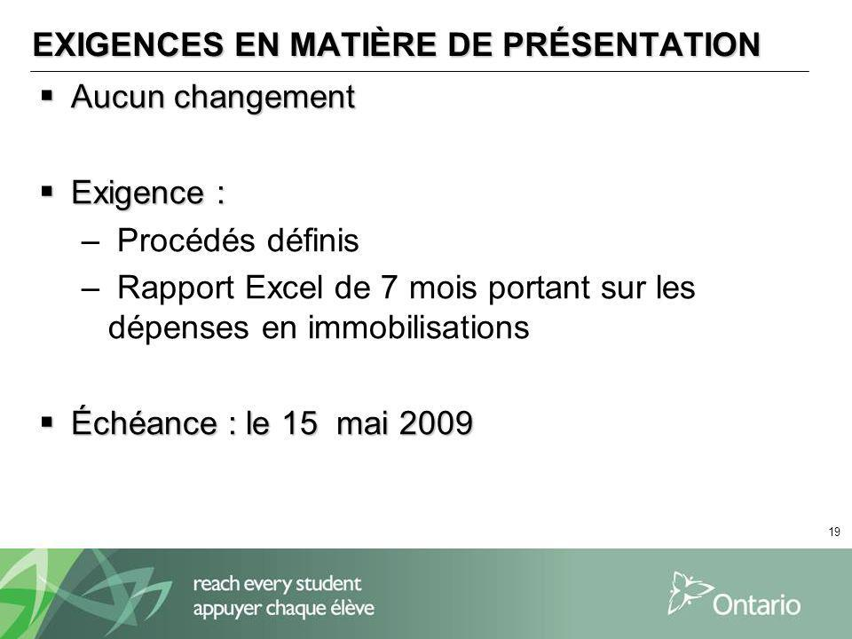 19 EXIGENCES EN MATIÈRE DE PRÉSENTATION Aucun changement Aucun changement Exigence : Exigence : – Procédés définis – Rapport Excel de 7 mois portant sur les dépenses en immobilisations Échéance : le 15 mai 2009 Échéance : le 15 mai 2009