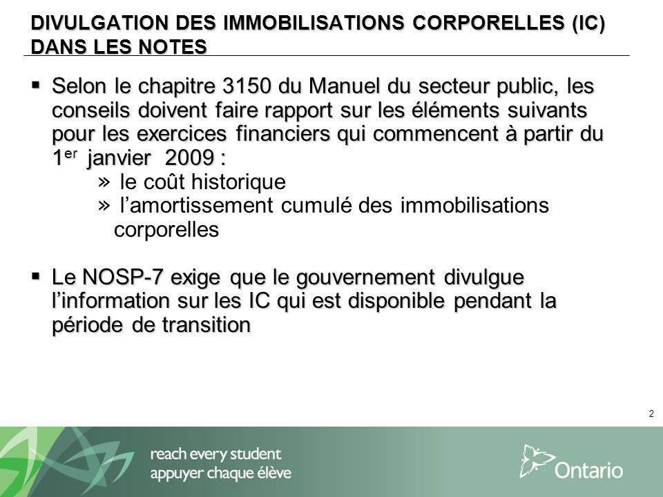 2 DIVULGATION DES IMMOBILISATIONS CORPORELLES (IC) DANS LES NOTES Selon le chapitre 3150 du Manuel du secteur public, les conseils doivent faire rappo