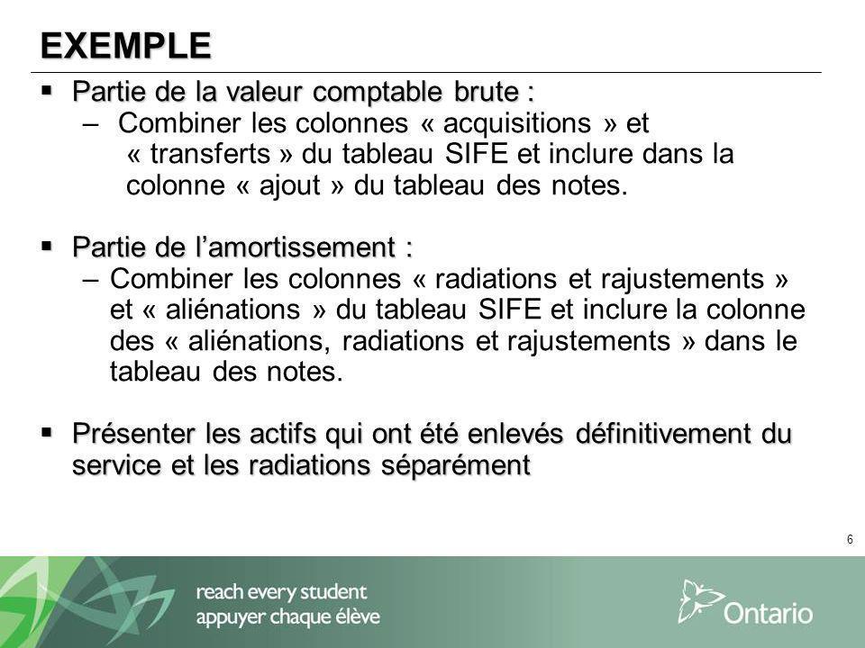 6 EXEMPLE Partie de la valeur comptable brute : Partie de la valeur comptable brute : – Combiner les colonnes « acquisitions » et « transferts » du tableau SIFE et inclure dans la colonne « ajout » du tableau des notes.