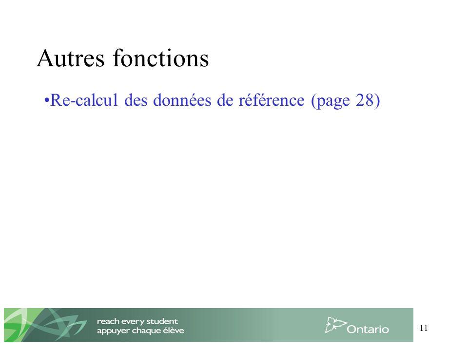 11 Autres fonctions Re-calcul des données de référence (page 28)