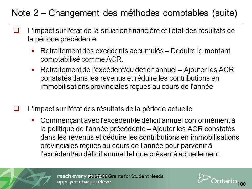 2007-08 Grants for Student Needs 100 Note 2 – Changement des méthodes comptables (suite) L'impact sur l'état de la situation financière et l'état des