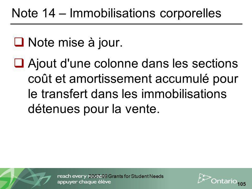 2007-08 Grants for Student Needs 105 Note 14 – Immobilisations corporelles Note mise à jour.