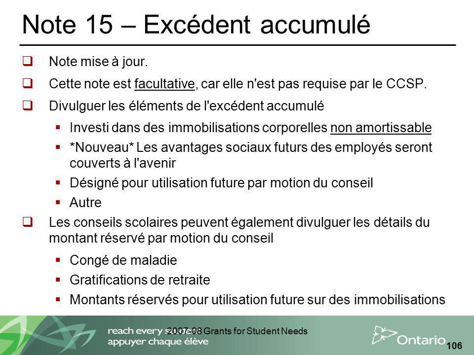 2007-08 Grants for Student Needs 106 Note 15 – Excédent accumulé Note mise à jour.