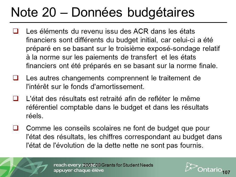 2007-08 Grants for Student Needs 107 Note 20 – Données budgétaires Les éléments du revenu issu des ACR dans les états financiers sont différents du bu