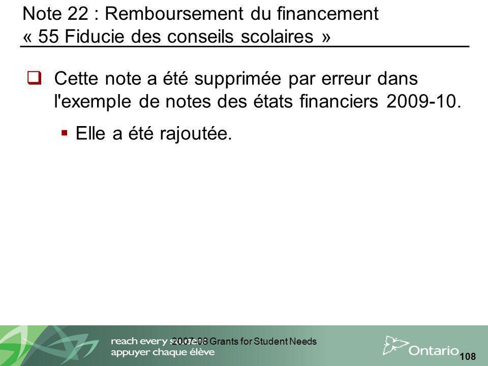 2007-08 Grants for Student Needs 108 Note 22 : Remboursement du financement « 55 Fiducie des conseils scolaires » Cette note a été supprimée par erreu