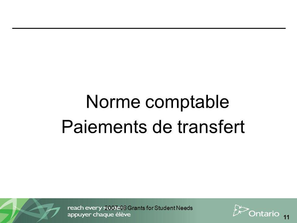 2007-08 Grants for Student Needs 11 Norme comptable Paiements de transfert
