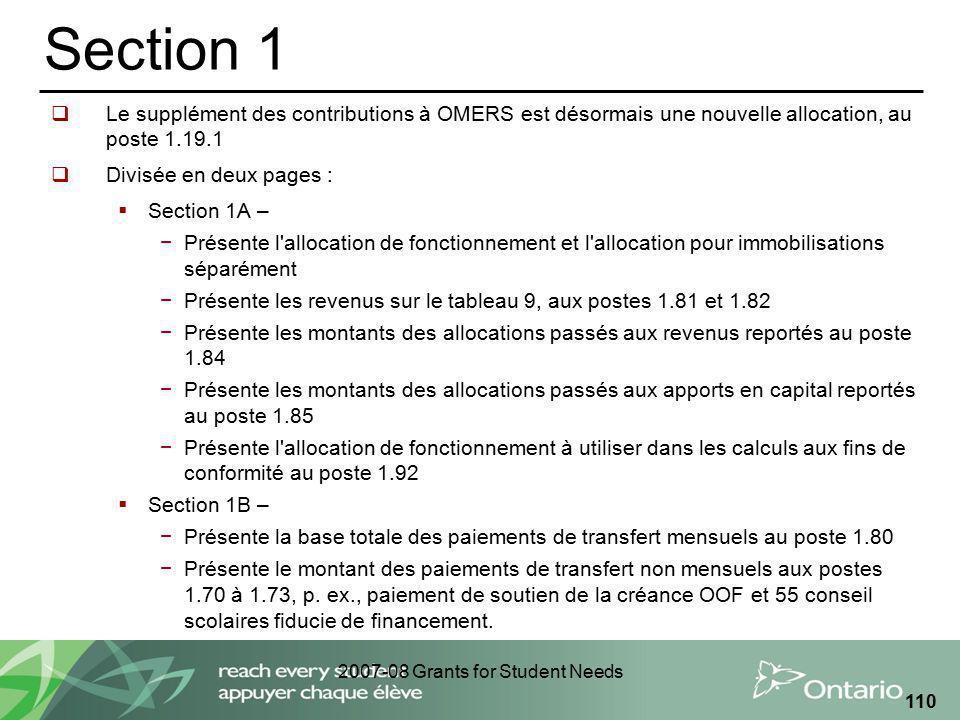 2007-08 Grants for Student Needs 110 Section 1 Le supplément des contributions à OMERS est désormais une nouvelle allocation, au poste 1.19.1 Divisée