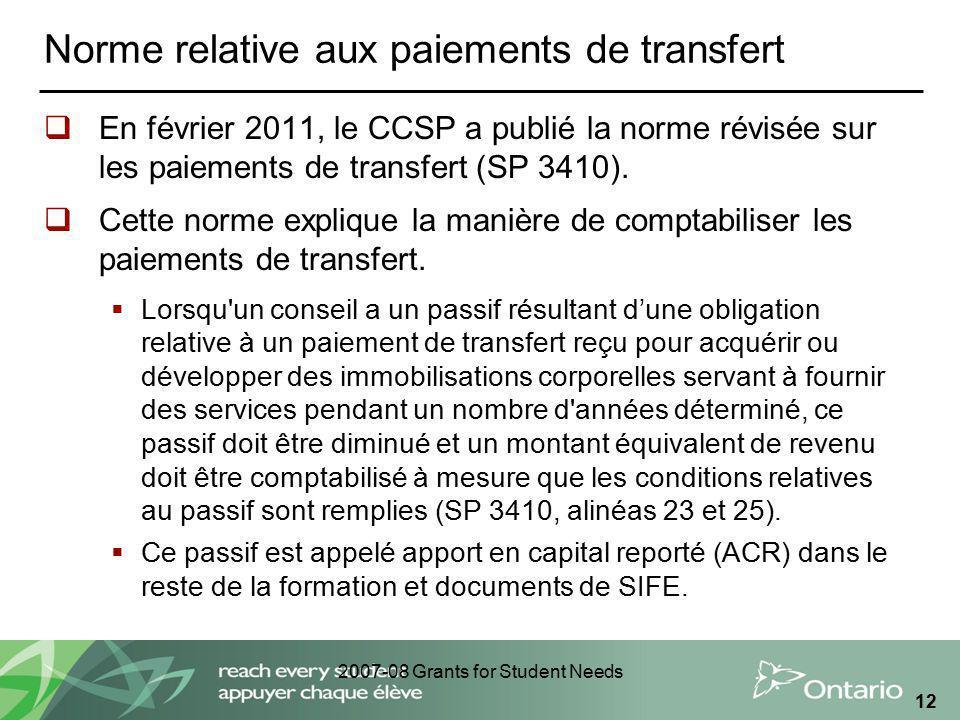 2007-08 Grants for Student Needs 12 Norme relative aux paiements de transfert En février 2011, le CCSP a publié la norme révisée sur les paiements de