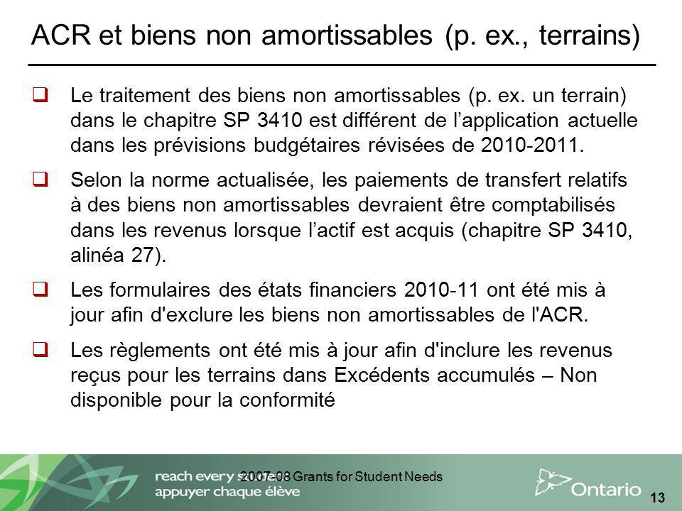 2007-08 Grants for Student Needs 13 ACR et biens non amortissables (p.