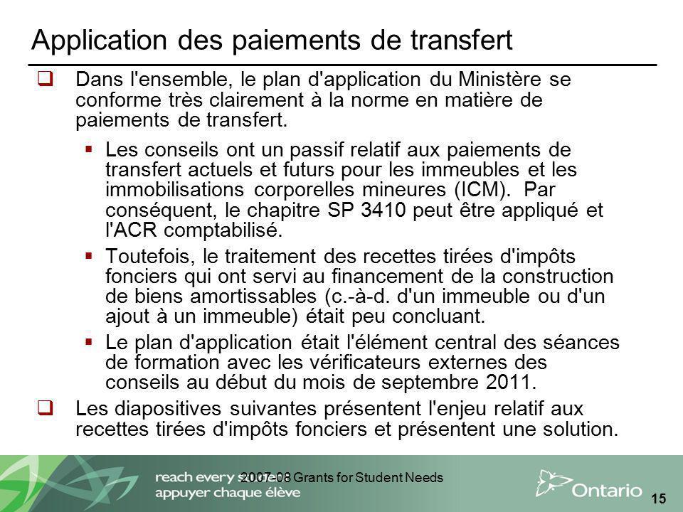 2007-08 Grants for Student Needs 15 Application des paiements de transfert Dans l'ensemble, le plan d'application du Ministère se conforme très claire