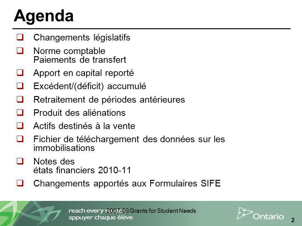 2007-08 Grants for Student Needs 2 Agenda Changements législatifs Norme comptable Paiements de transfert Apport en capital reporté Excédent/(déficit)