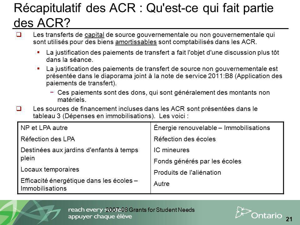 2007-08 Grants for Student Needs 21 Récapitulatif des ACR : Qu'est-ce qui fait partie des ACR? Les transferts de capital de source gouvernementale ou